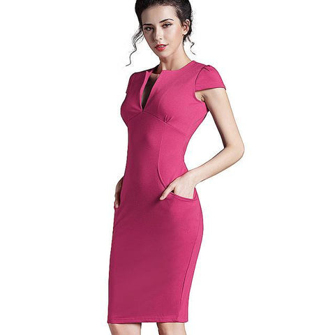 Women Vintage Summer Solid Deep V neck  Pocket Dress