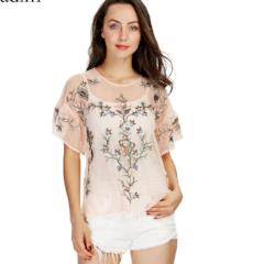 Ladies Flower Embroidered  Short Sleeve  Ruffled Blouse
