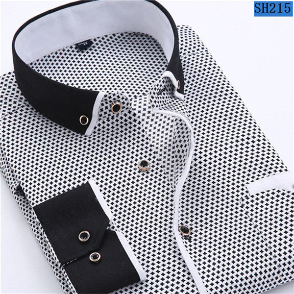 Men's  Casual Long Sleeved Slim Fit  Printed Shirt