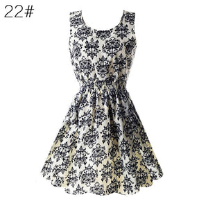 Ladies  Chiffon, sleeveless , floral  Beach Dress