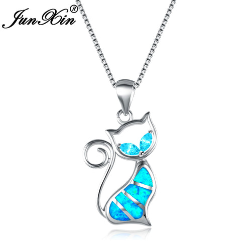 Women Cat Necklace Blue Fire Opal Necklaces & Pendants