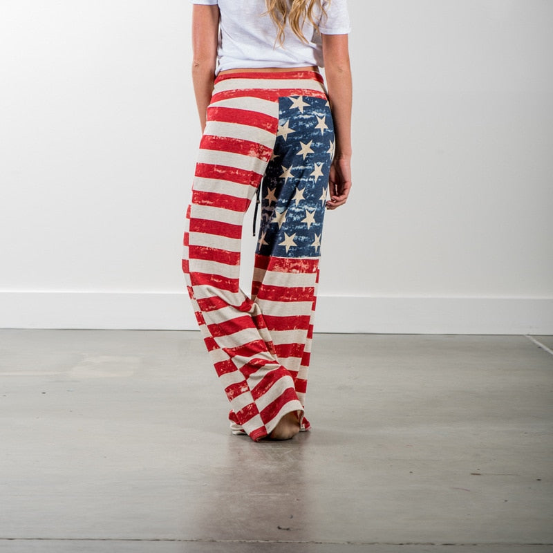 Women American Flag Printed  Flared Trousers