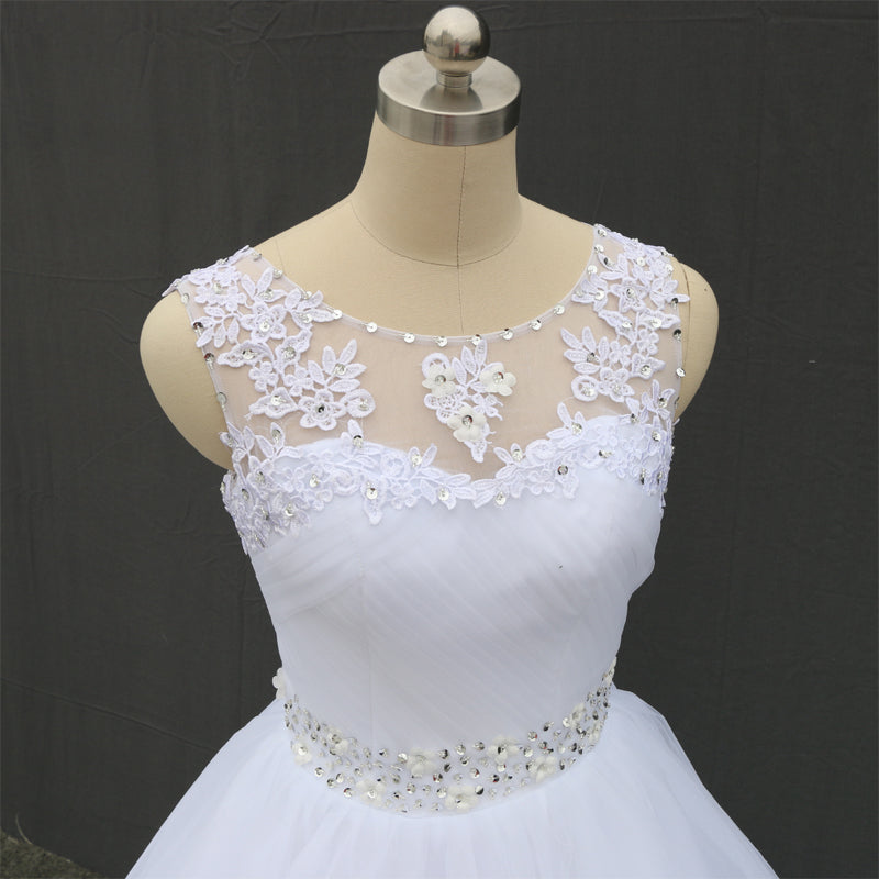 Double Shoulder Lace Up Ball Wedding Dress
