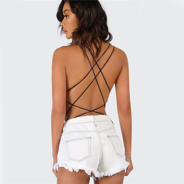 Strappy Backless  Women Black Sleeveless Summer Beach  Bodysuit