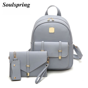 3  Set  Composite Teenager   School  Pu Leather Backpack