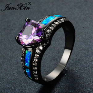 Multicolor  Zircon  Heart  Opal Birthstone Ring