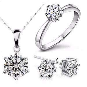 Fashionable Cubic Zircon Necklace, Ring & Earrings Set