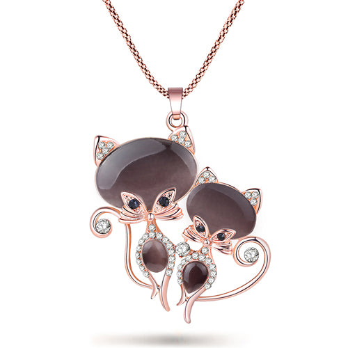Cat Necklace Long Pendant Crystal Chain