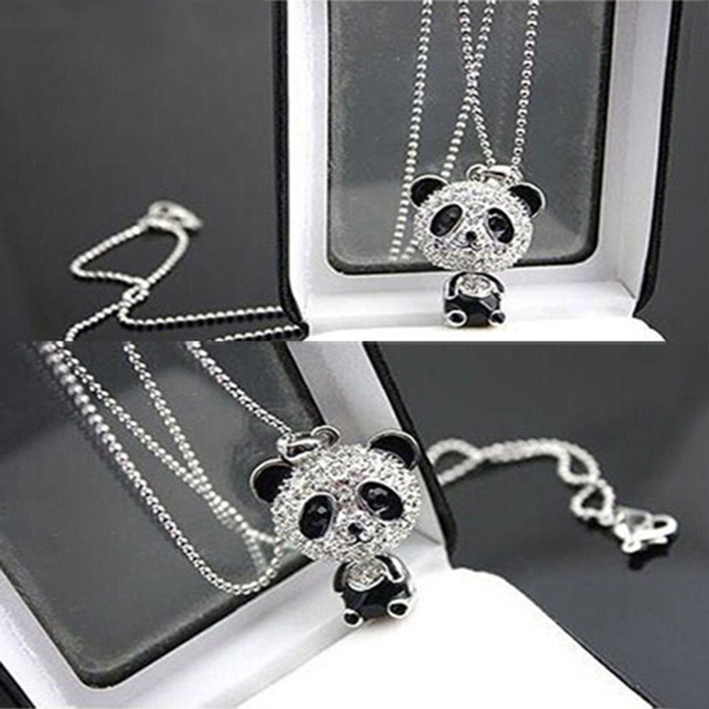 Rhinestone Panda Pendant Women's  Necklace