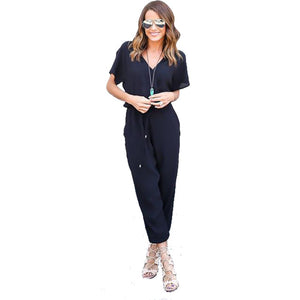 Ladies  Jumpsuit ,  Short Sleeve V neck, with Pleated Pockets