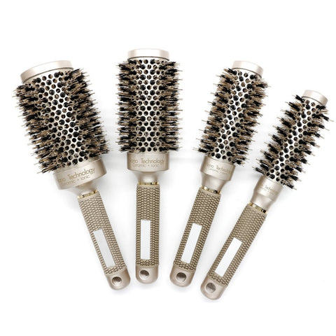 Nylon & Bristle Hair Round Brush Ceramic Aluminium Hair Comb