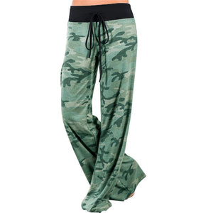 Women Green Camouflage Print Wide Leg Pants