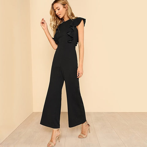 Black Ruffle sleeveless , Round neck  Summer Jumpsuit