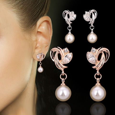 Double Drop Cubic Zirconia  Rose Colored Gold/Silver Dangle Earrings