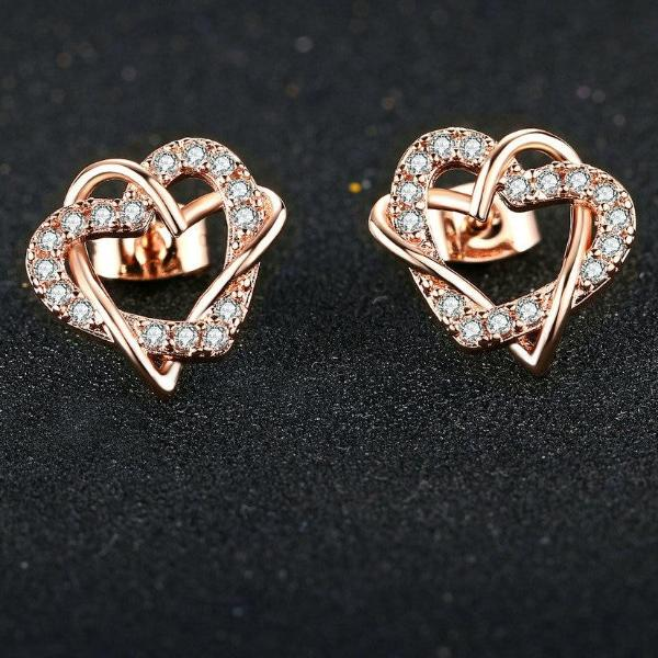 Love Heart Cubic Zirconia Stud Earrings Silver/Rose Gold Color
