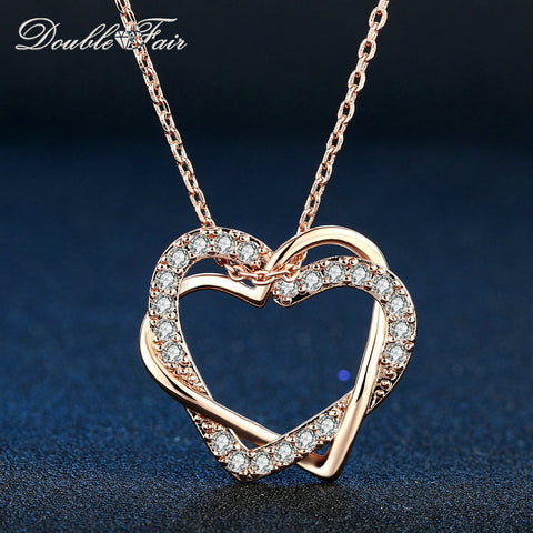 Double  Love Heart Cubic Zirconia , Silver Rose Necklaces & Pendant