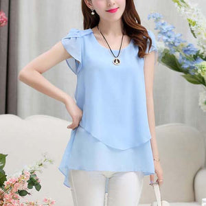 Korean Style Short Sleeve  Chiffon  Summer Blouse