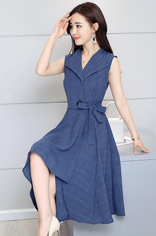 Fashionable  Sleeveless  Summer  V Neck Summer Dress