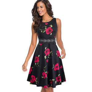 Elegant Embroidered  Floral Lace Patchwork Dress  Business  Dress
