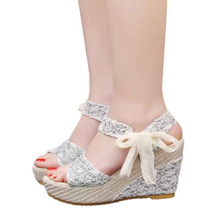 Open Toe Wedge   Summer High Heeled  Floral Platform Shoes