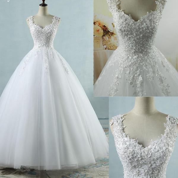 White Ivory Tulle Wedding Dress with Pearls