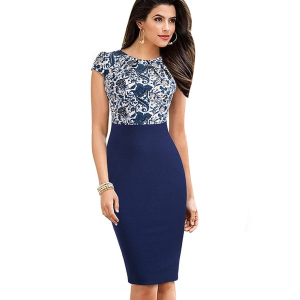 Stylish Elegant Casual Work Ruched Cap Sleeve  Office Pencil Dress