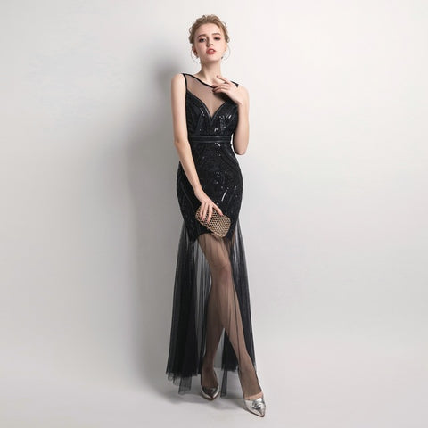 Long Beaded  Evening Dress