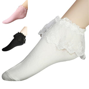 Fashionable Lovely  Lace Ruffle  Ankle Socks