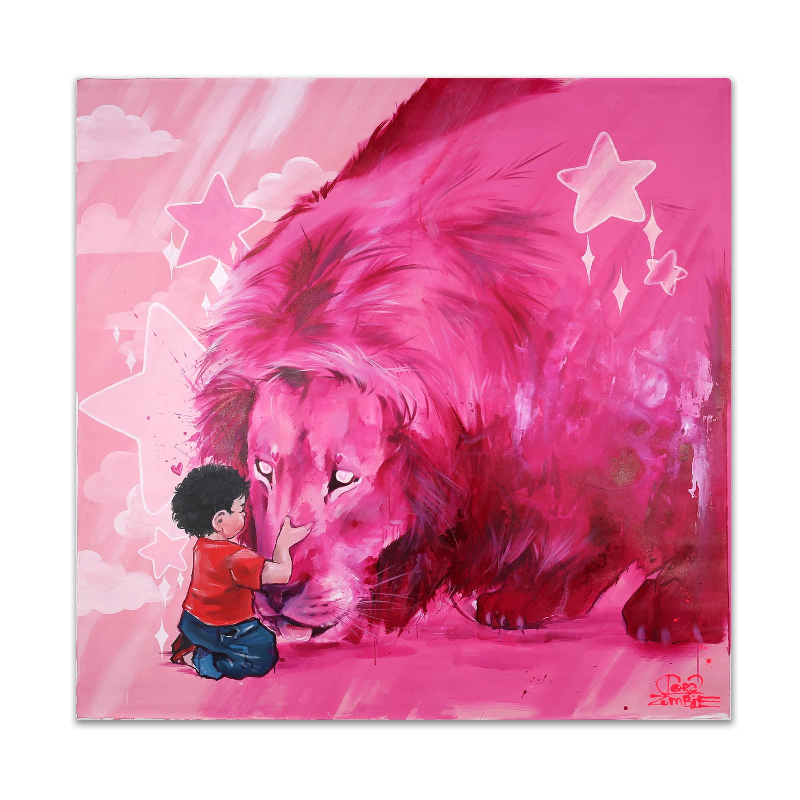 Steven meets Lion (Oversize Canvas)