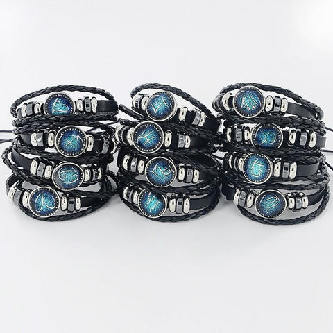 Black Leather 12 Constellation Bracelet