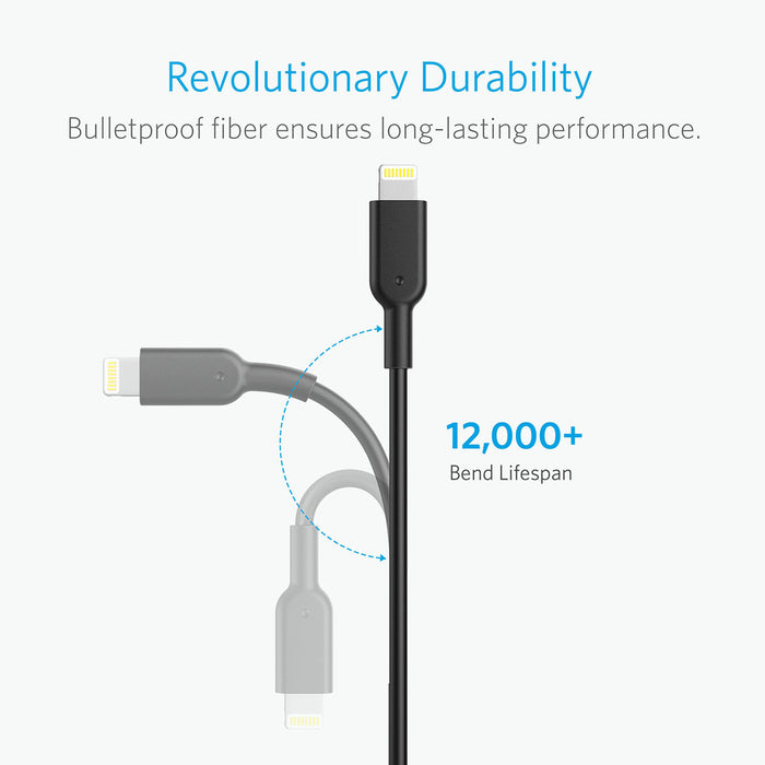 Anker Lightning naar USB kabel - Powerline II (3 m) - Zwart