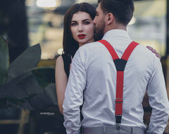 Woman and man wearing Wiseguy Suspenders