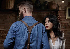 Woman and man wearing denim and Wiseguy Suspenders