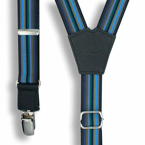 Bravo Gray Blue Green Striped Suspender Braces slim straps 1 inch wide - Wiseguy Suspenders