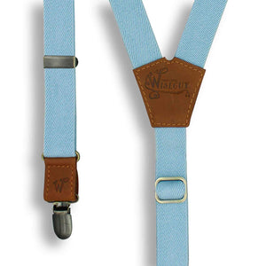 Cloud Blue Wedding Suspenders thin Y back on Camel Brown 1 inch wide - Wiseguy Suspenders