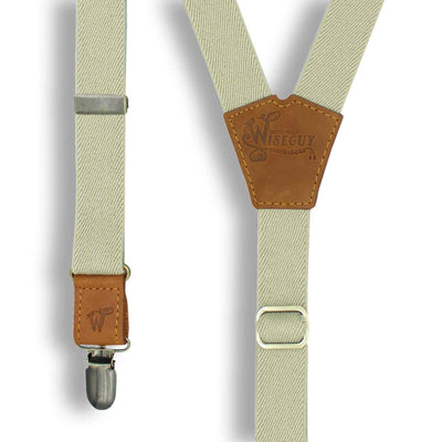 Desert Sand Formal Suspenders with Camel Brown Leather Parts 1 inch - Wiseguy Suspenders