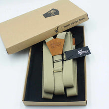 Load image into Gallery viewer, Desert Sand Formal Suspenders with Camel Brown Leather Parts 1 inch - Wiseguy Suspenders