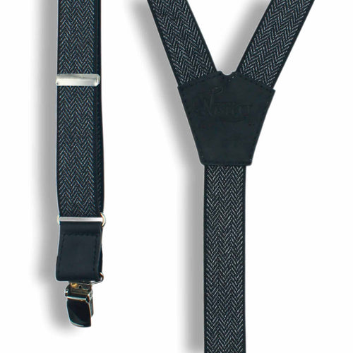 The Herringbone Black Suspenders slim straps (1 inch/2.54 cm) - Wiseguy Suspenders
