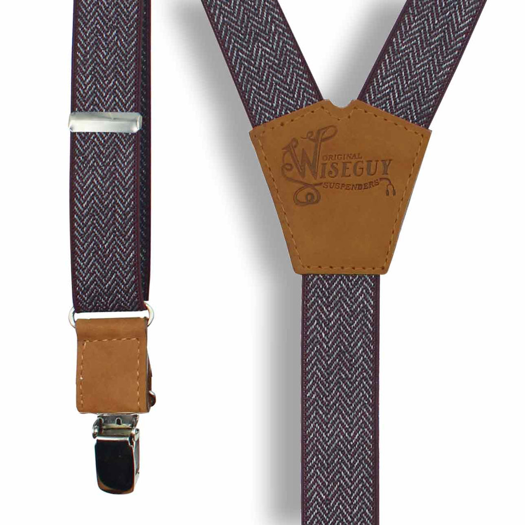 The Herringbone Burgundy Suspenders slim straps (1 inch/2.54 cm) - Wiseguy Suspenders