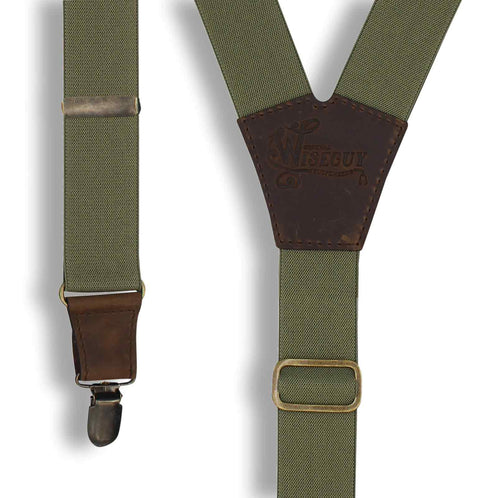 Khaki Green on Dark Brown Suspenders wide straps (1.36 inch/ 3.5 cm) - Wiseguy Suspenders