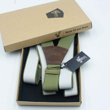 Load image into Gallery viewer, Khaki Green on Dark Brown Suspenders wide straps (1.36 inch/ 3.5 cm) - Wiseguy Suspenders