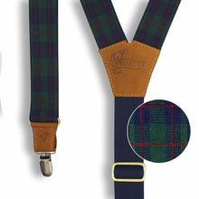 Load image into Gallery viewer, Tartan Green-navy-red Suspenders wide straps (1.36 inch/ 3.5 cm) - Wiseguy Suspenders