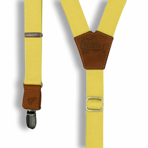The Tuscany Suspenders on Camel Brown & Brass slim straps (1 inch/ 2.5 cm) - Wiseguy Suspenders