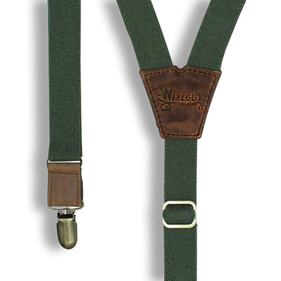 "Army Green mens trouser braces suspenders 1"" wide Dark Brown Leather - Wiseguy Suspenders"