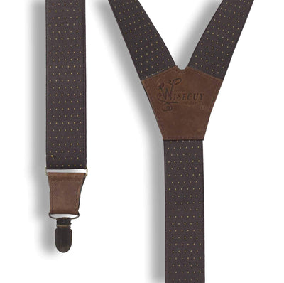 Barista formal men's Suspenders Brown with Yellow Dots 1 inch wide - Wiseguy Suspenders