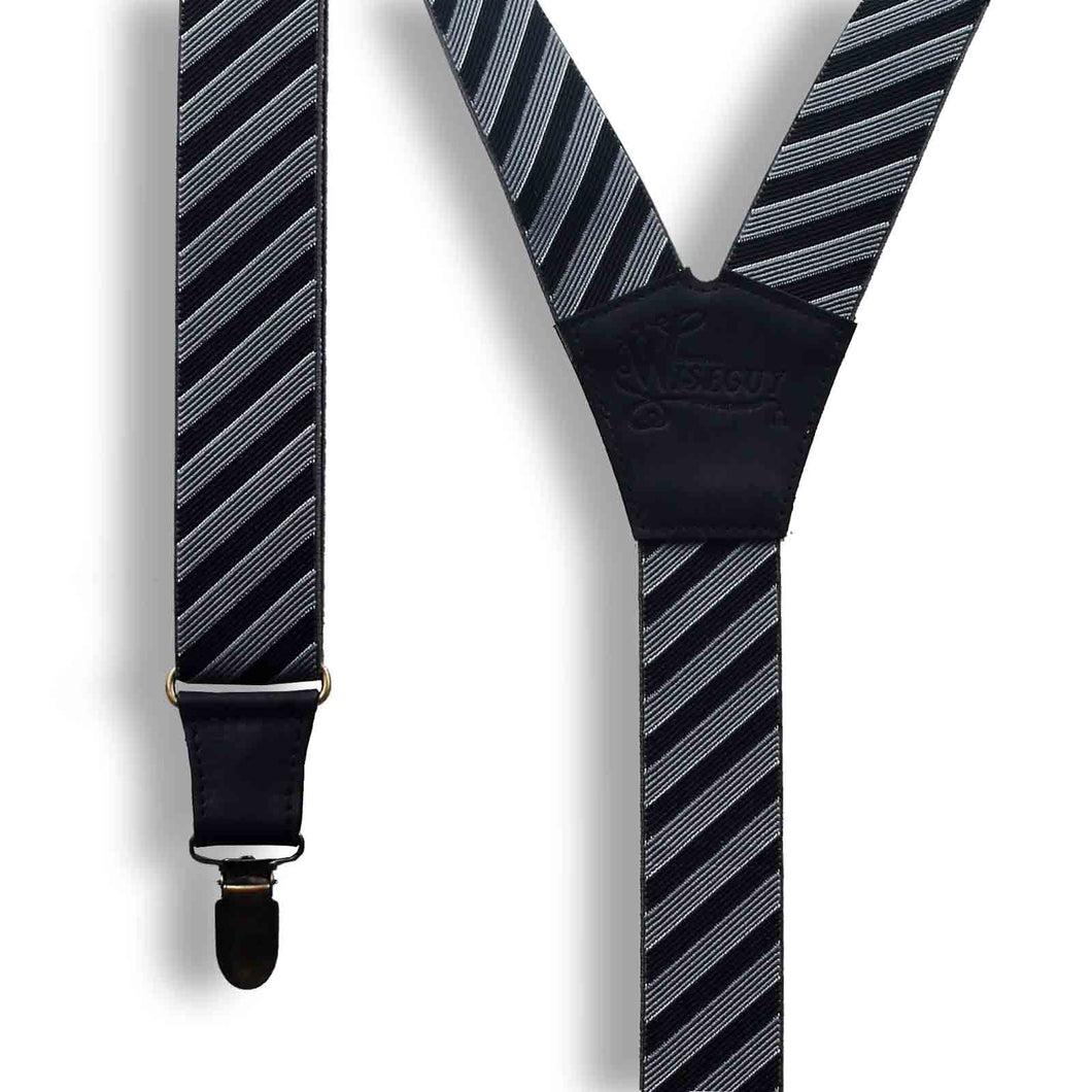 Bartender Striped wedding Suspenders for formal events 1.3 inch wide - Wiseguy Suspenders