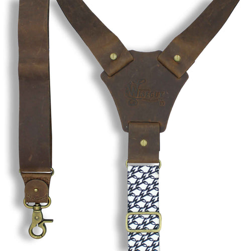 Billy the Kid Flex Brown Leather Suspenders with Elastic W Back Strap - Wiseguy Suspenders