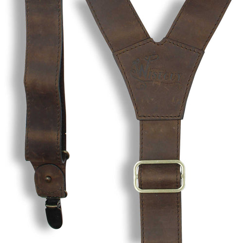 Billy the Kid - Dark Brown Leather Suspenders, 1.3 inch with Hooks - Wiseguy Suspenders