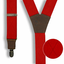 Load image into Gallery viewer, Blood Red with Checkered Woven Pattern Suspenders wide straps (1.36 inch/3.5 cm) - Wiseguy Suspenders