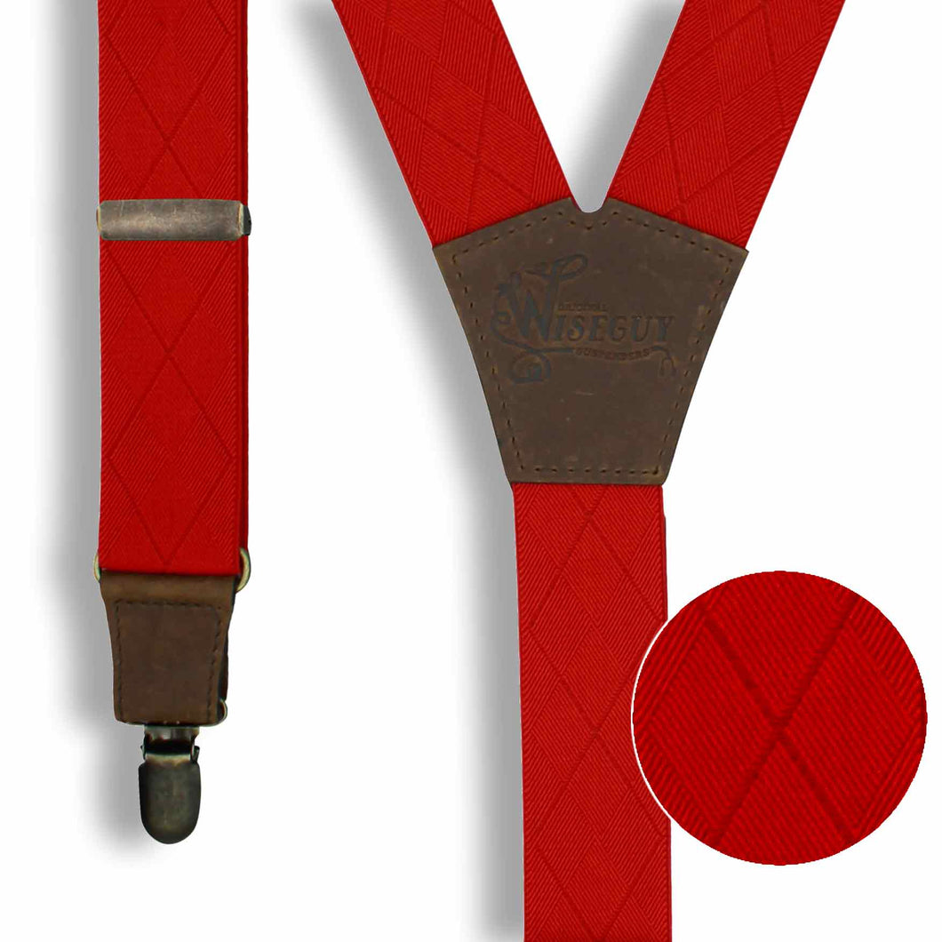 Blood Red with Checkered Woven Pattern Suspenders wide straps (1.36 inch/3.5 cm) - Wiseguy Suspenders